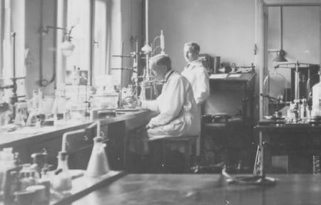 Two pharmacists in a laboratory